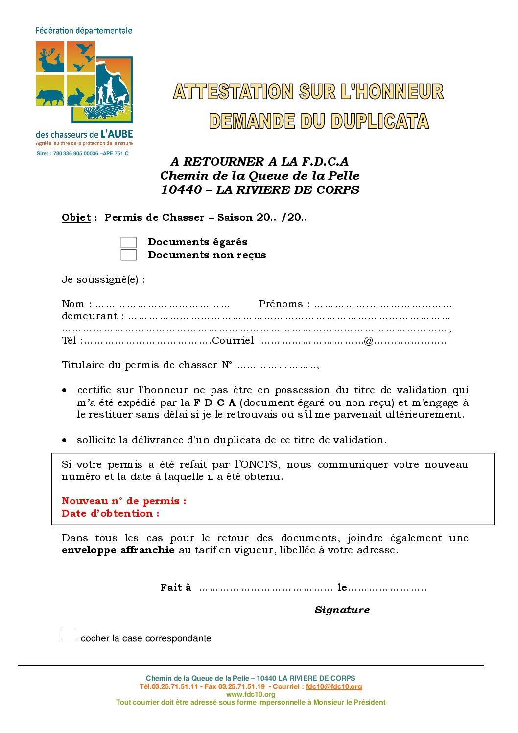 Attestation Sur L Honneur Saison 2018 2019 Federation Des